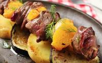 Beef and orange kebabs2 min