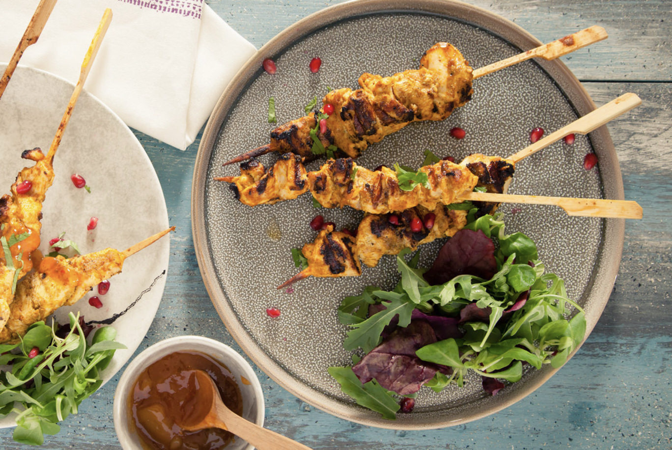 Grilled Butter Chicken Skewers with Naan Bread Recipe