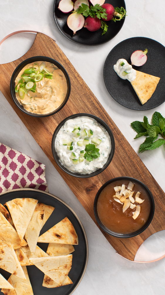 Trio of Dips with Toasted Naan  Recipe